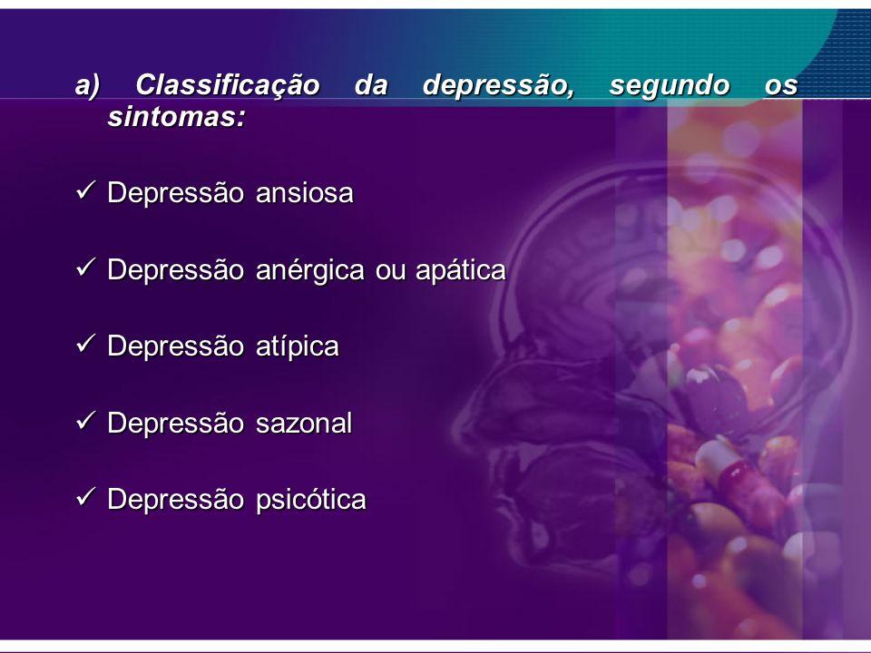 a) Classificação da depressão, segundo os sintomas: