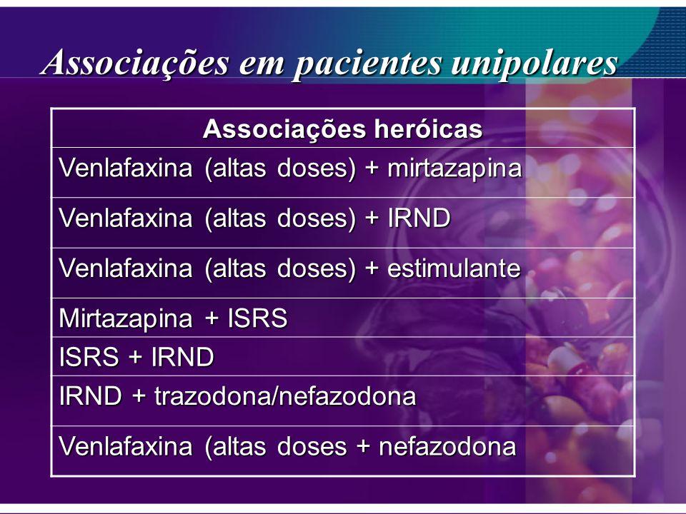 Associações em pacientes unipolares