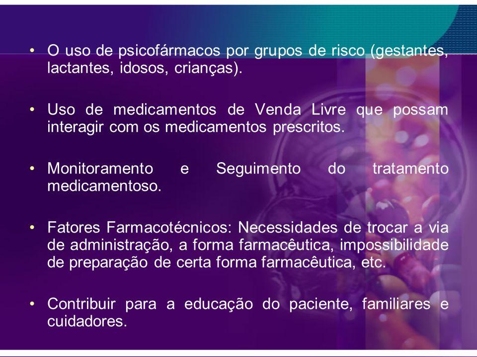 O uso de psicofármacos por grupos de risco (gestantes, lactantes, idosos, crianças).
