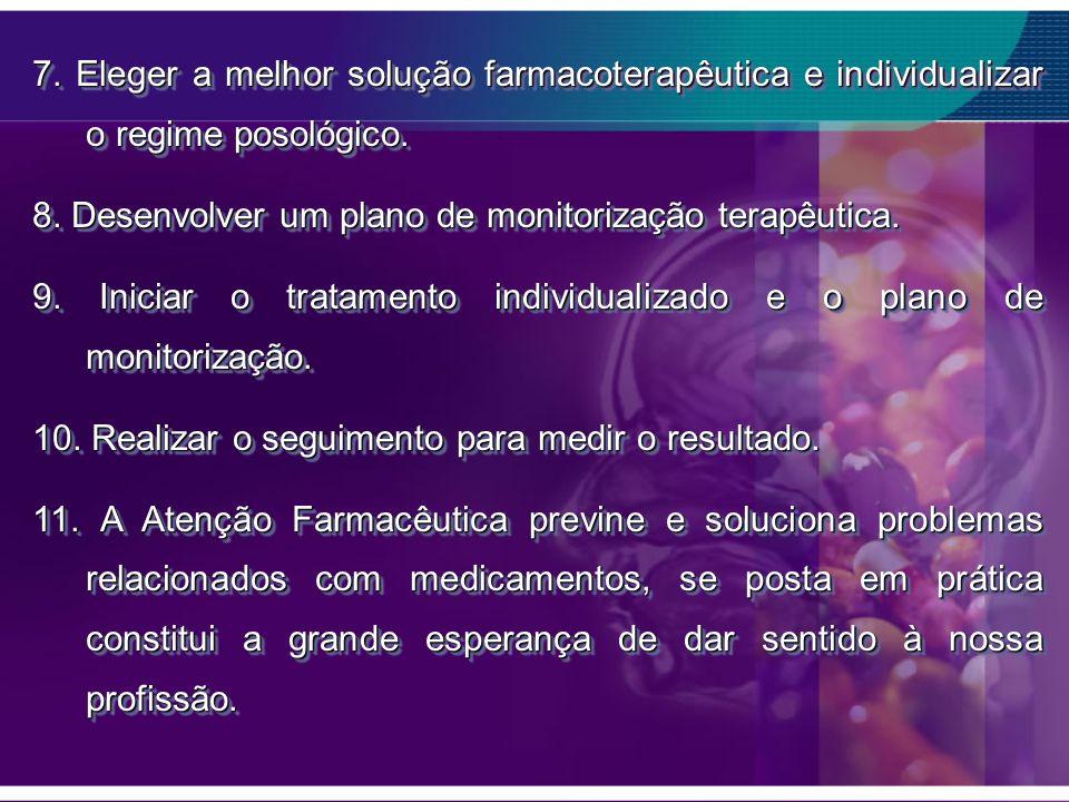 7. Eleger a melhor solução farmacoterapêutica e individualizar o regime posológico.