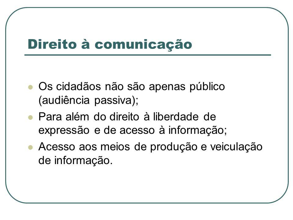 Direito à comunicaçãoOs cidadãos não são apenas público (audiência passiva); Para além do direito à liberdade de expressão e de acesso à informação;