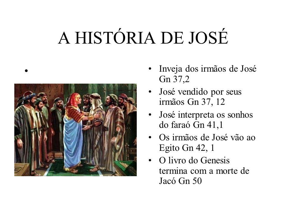 A HISTÓRIA DE JOSÉ Inveja dos irmãos de José Gn 37,2