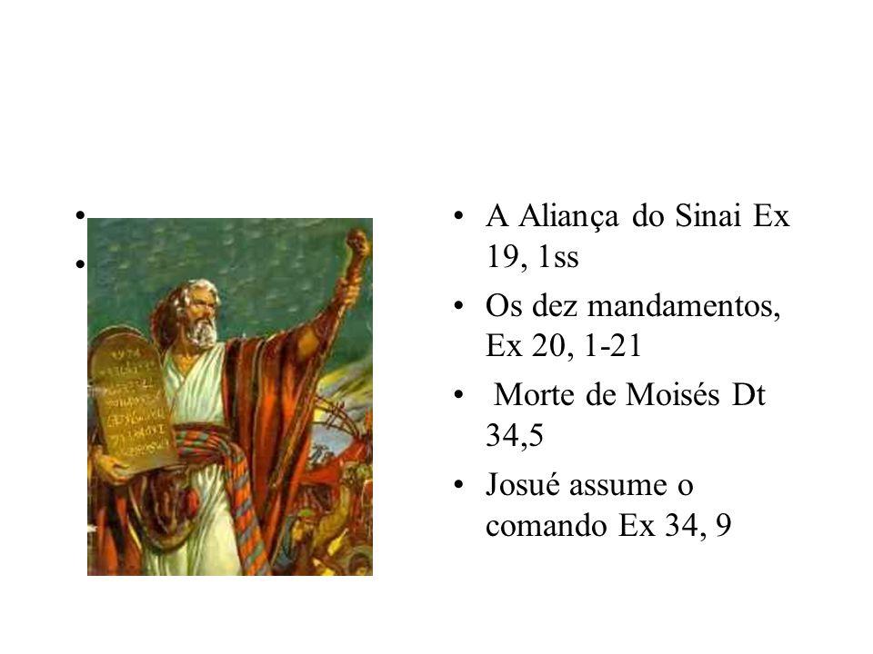A Aliança do Sinai Ex 19, 1ss Os dez mandamentos, Ex 20, 1-21.
