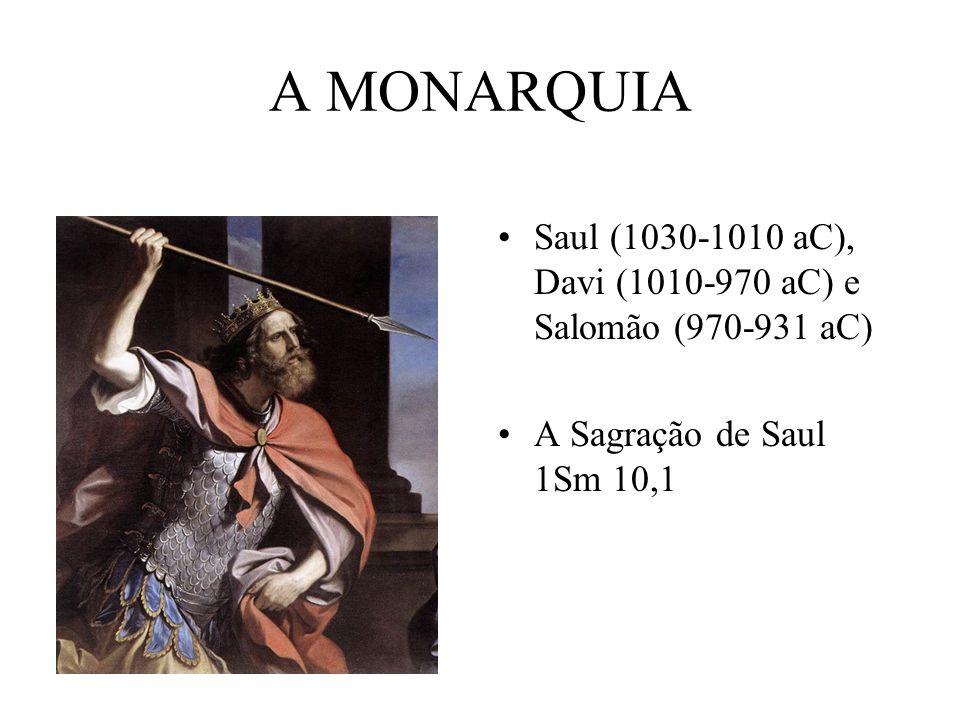 A MONARQUIA Saul (1030-1010 aC), Davi (1010-970 aC) e Salomão (970-931 aC) A Sagração de Saul 1Sm 10,1.