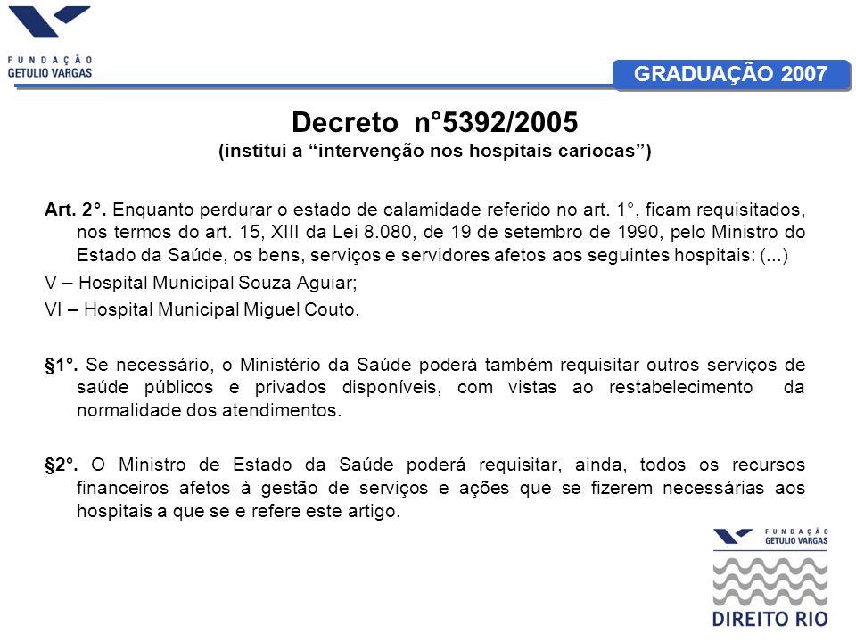 Decreto n°5392/2005 (institui a intervenção nos hospitais cariocas )