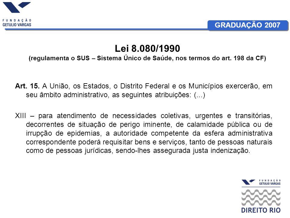 Lei 8.080/1990 (regulamenta o SUS – Sistema Único de Saúde, nos termos do art. 198 da CF)