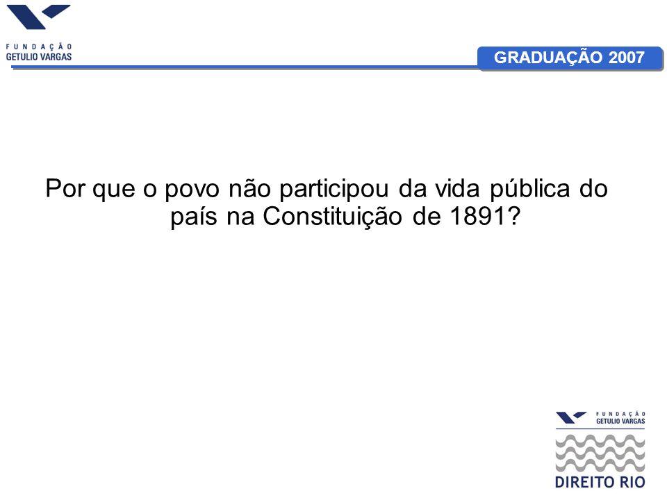 Por que o povo não participou da vida pública do país na Constituição de 1891