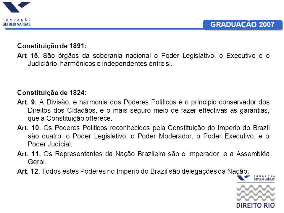 Constituição de 1891: Art 15. São órgãos da soberania nacional o Poder Legislativo, o Executivo e o Judiciário, harmônicos e independentes entre si.