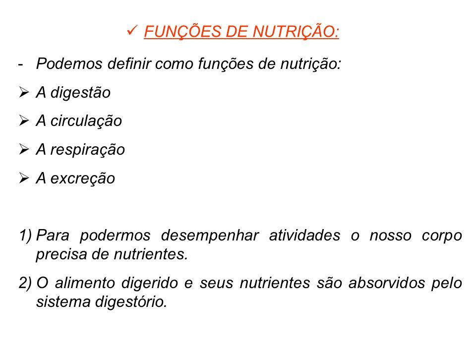 Podemos definir como funções de nutrição: A digestão A circulação