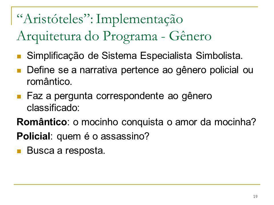 Aristóteles : Implementação Arquitetura do Programa - Gênero