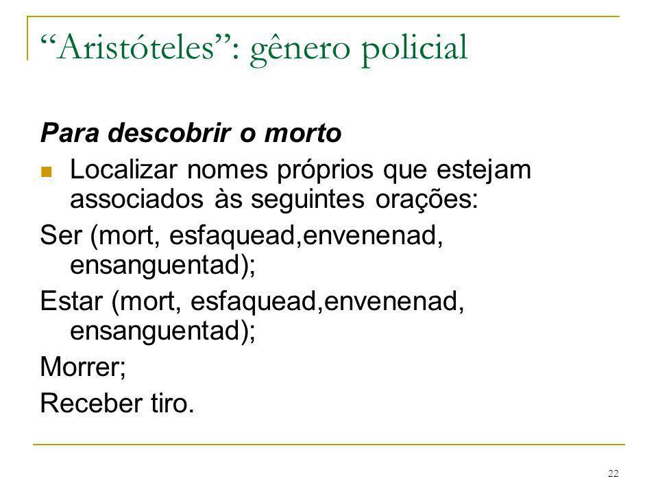 Aristóteles : gênero policial