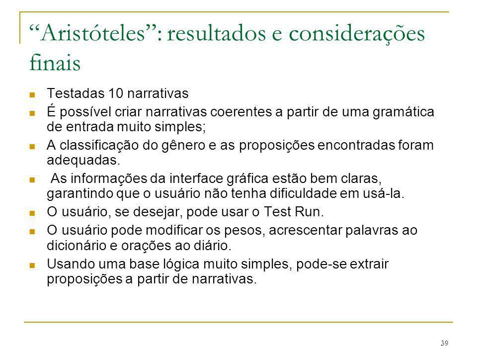Aristóteles : resultados e considerações finais