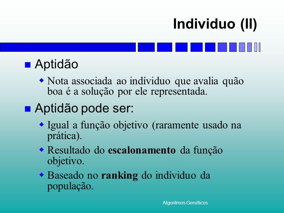 Individuo (II) Aptidão Aptidão pode ser: