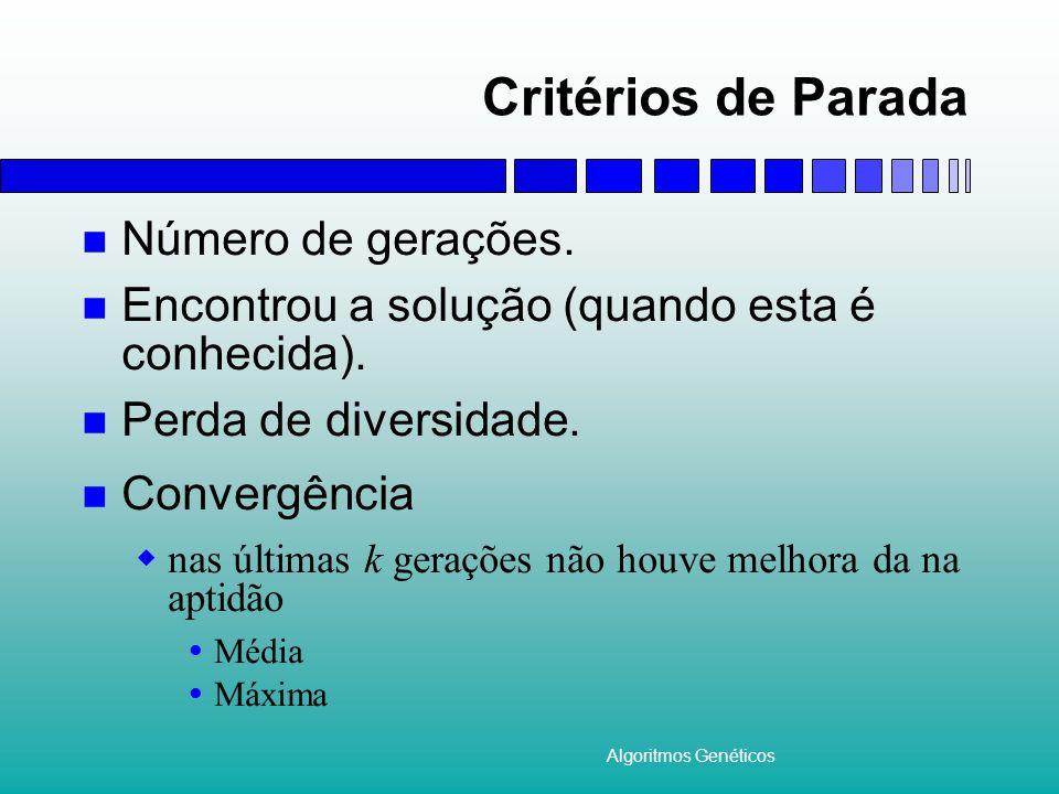 Critérios de Parada Número de gerações.