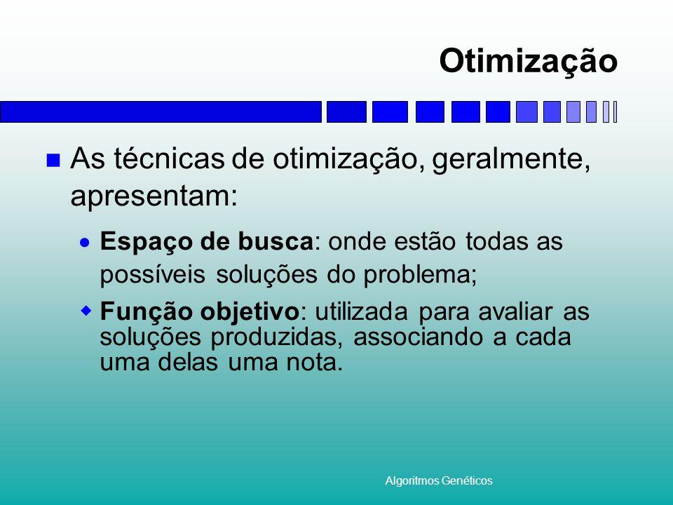 Otimização As técnicas de otimização, geralmente, apresentam:
