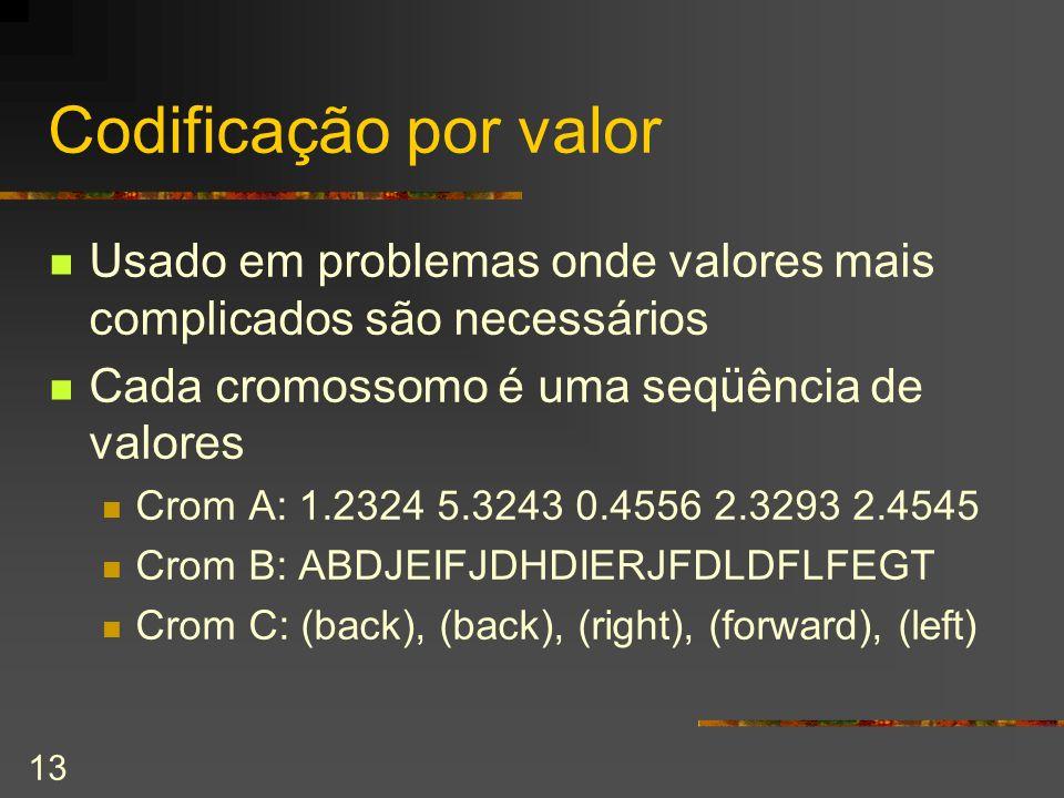 Codificação por valor Usado em problemas onde valores mais complicados são necessários. Cada cromossomo é uma seqüência de valores.