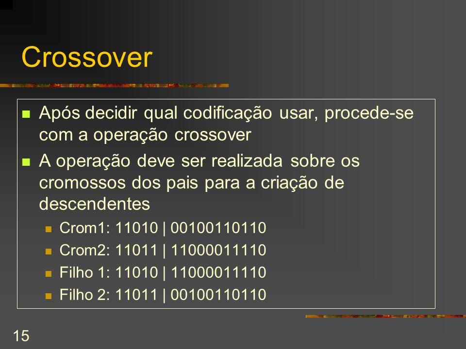 Crossover Após decidir qual codificação usar, procede-se com a operação crossover.