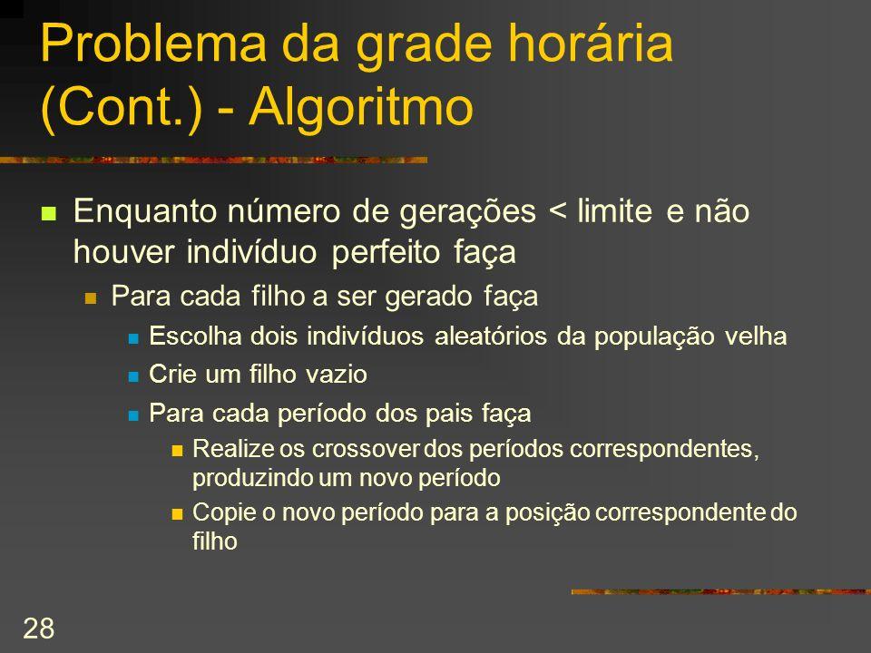 Problema da grade horária (Cont.) - Algoritmo