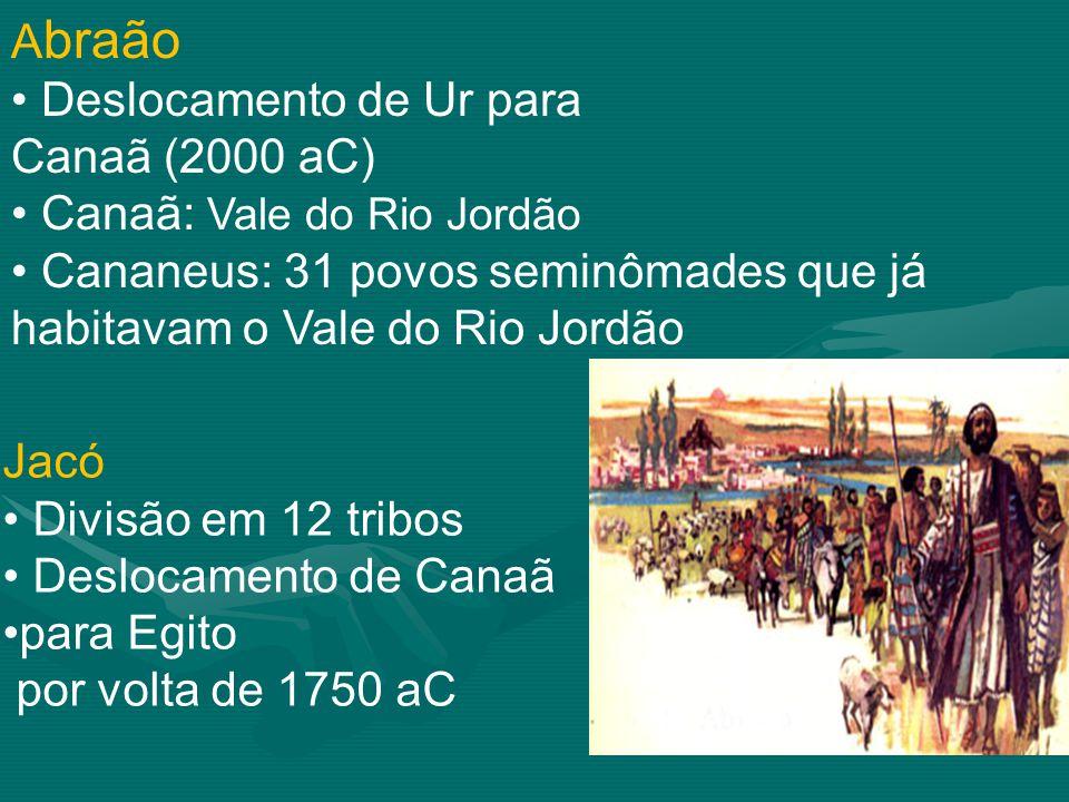 Abraão Deslocamento de Ur para. Canaã (2000 aC) Canaã: Vale do Rio Jordão. Cananeus: 31 povos seminômades que já habitavam o Vale do Rio Jordão.