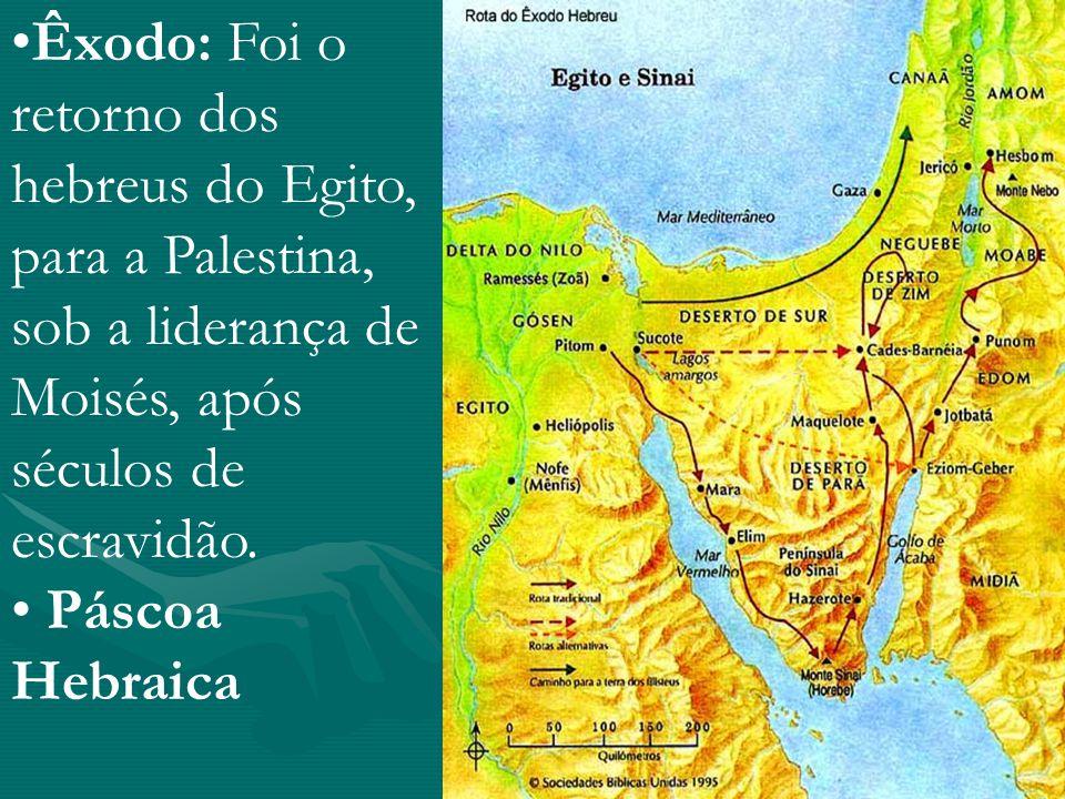 Êxodo: Foi o retorno dos hebreus do Egito, para a Palestina, sob a liderança de Moisés, após séculos de escravidão.