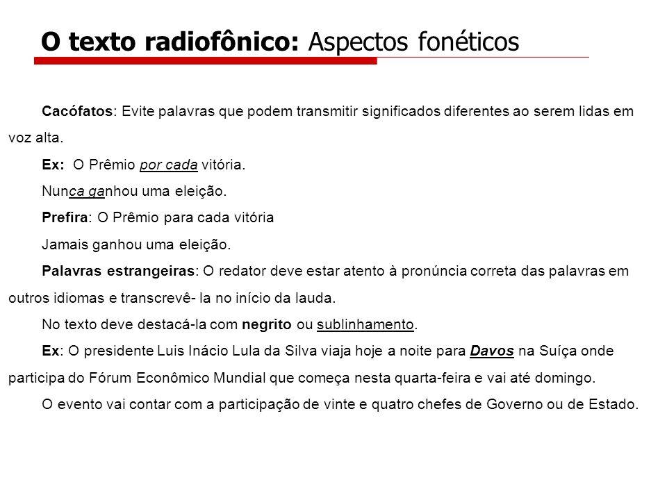 O texto radiofônico: Aspectos fonéticos