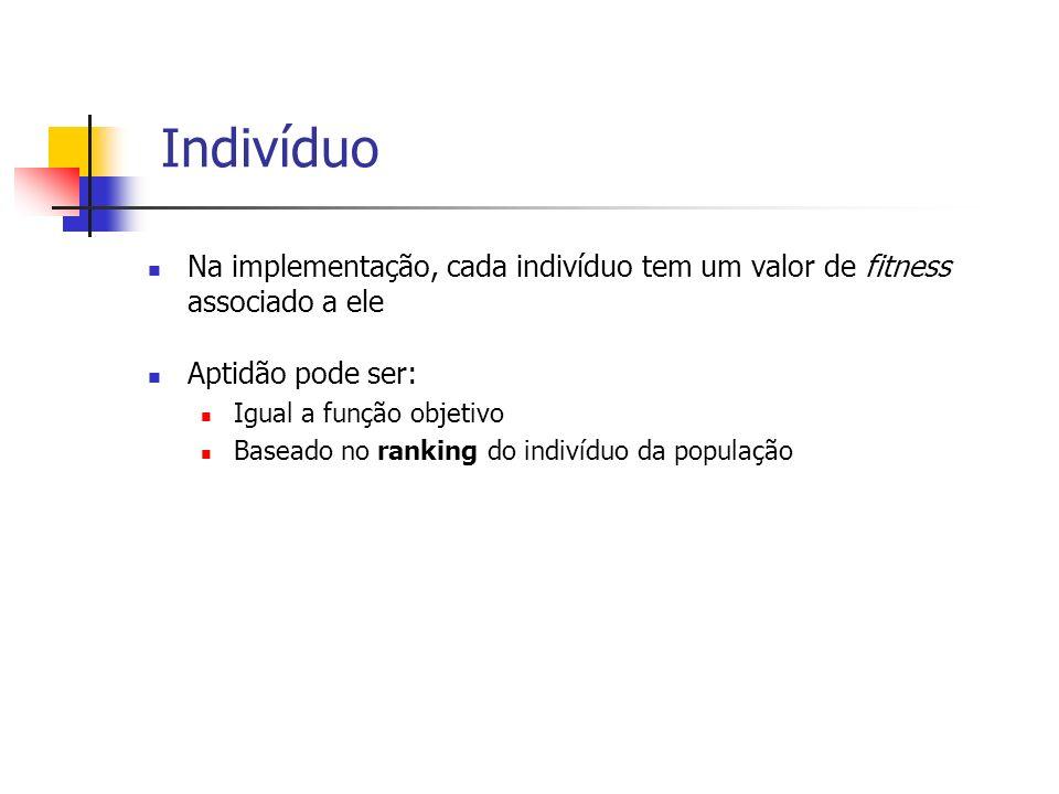 IndivíduoNa implementação, cada indivíduo tem um valor de fitness associado a ele. Aptidão pode ser: