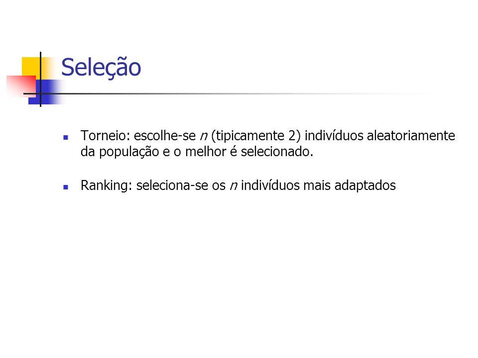 SeleçãoTorneio: escolhe-se n (tipicamente 2) indivíduos aleatoriamente da população e o melhor é selecionado.