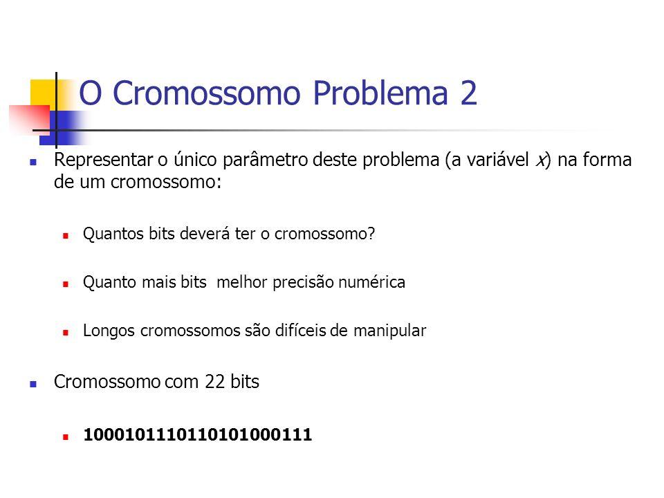 O Cromossomo Problema 2Representar o único parâmetro deste problema (a variável x) na forma de um cromossomo: