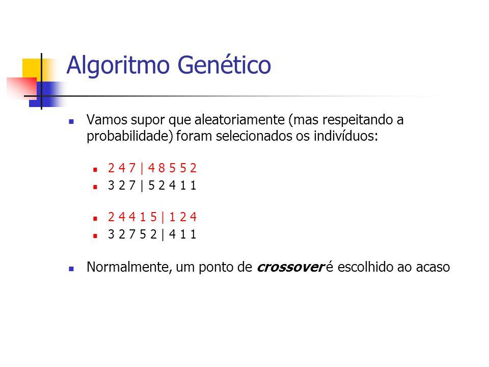 Algoritmo Genético Vamos supor que aleatoriamente (mas respeitando a probabilidade) foram selecionados os indivíduos: