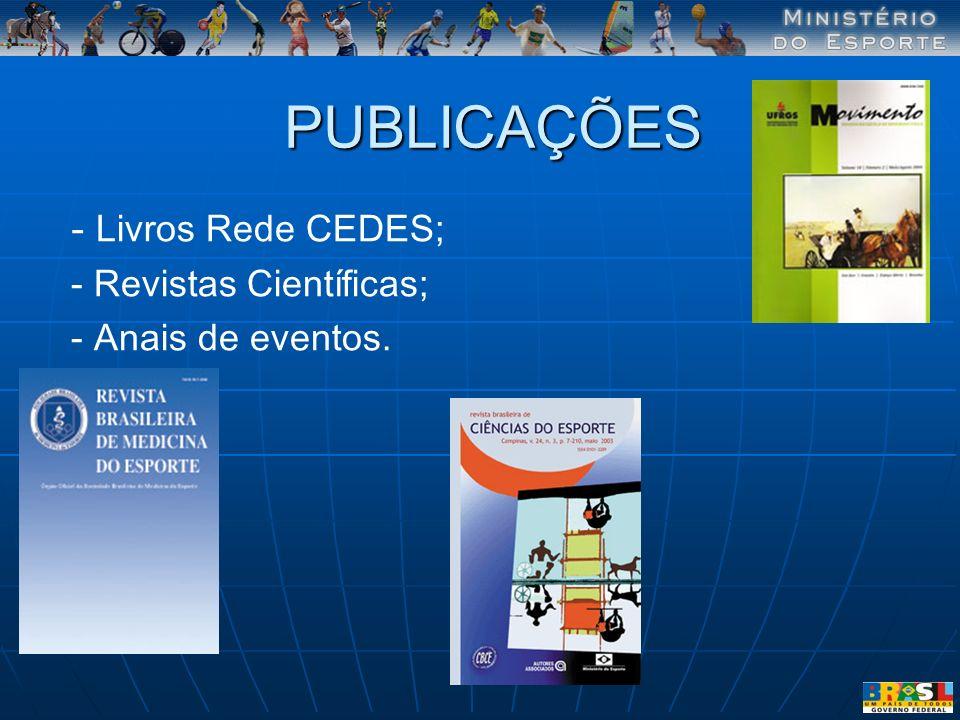 PUBLICAÇÕES - Livros Rede CEDES; - Revistas Científicas;