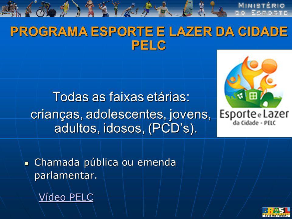 PROGRAMA ESPORTE E LAZER DA CIDADE PELC