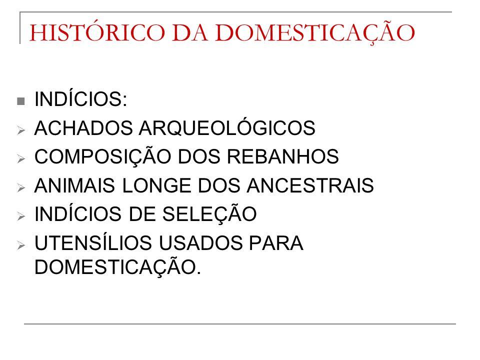 HISTÓRICO DA DOMESTICAÇÃO