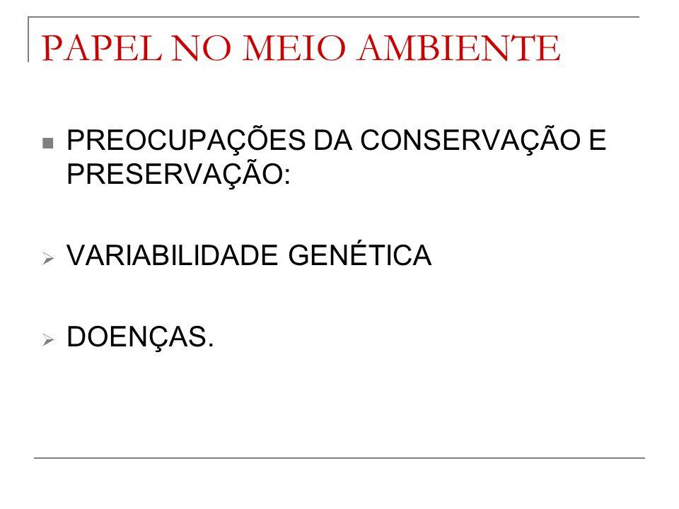 PAPEL NO MEIO AMBIENTE PREOCUPAÇÕES DA CONSERVAÇÃO E PRESERVAÇÃO: