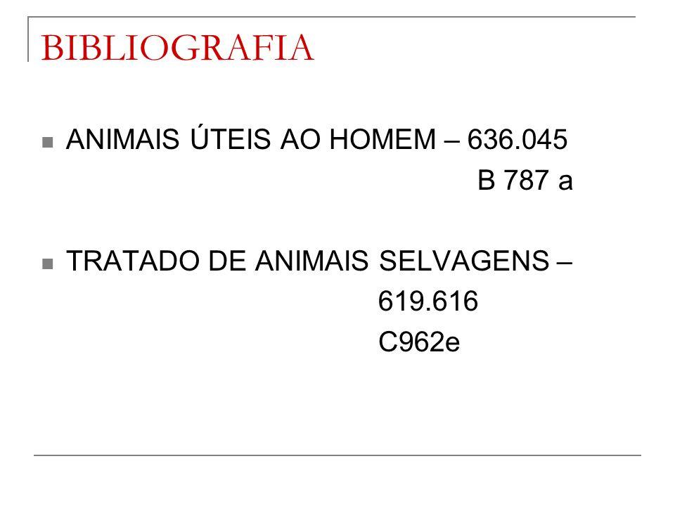 BIBLIOGRAFIA ANIMAIS ÚTEIS AO HOMEM – 636.045 B 787 a