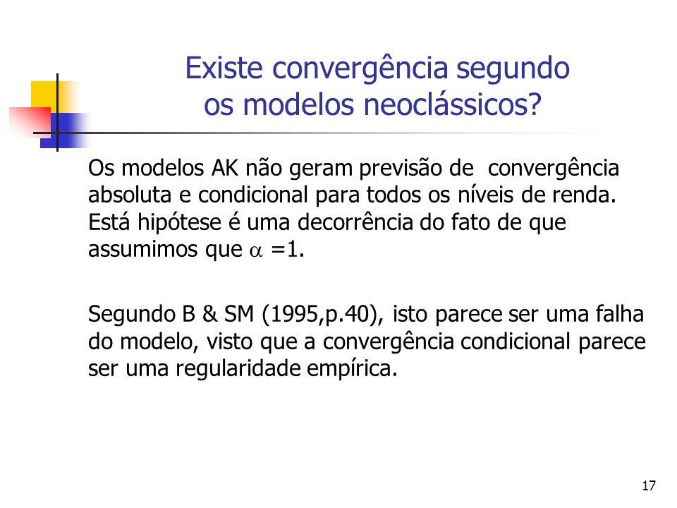Existe convergência segundo os modelos neoclássicos