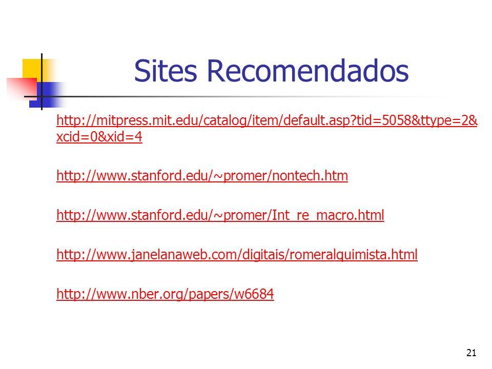 Sites Recomendados http://mitpress.mit.edu/catalog/item/default.asp tid=5058&ttype=2&xcid=0&xid=4. http://www.stanford.edu/~promer/nontech.htm.