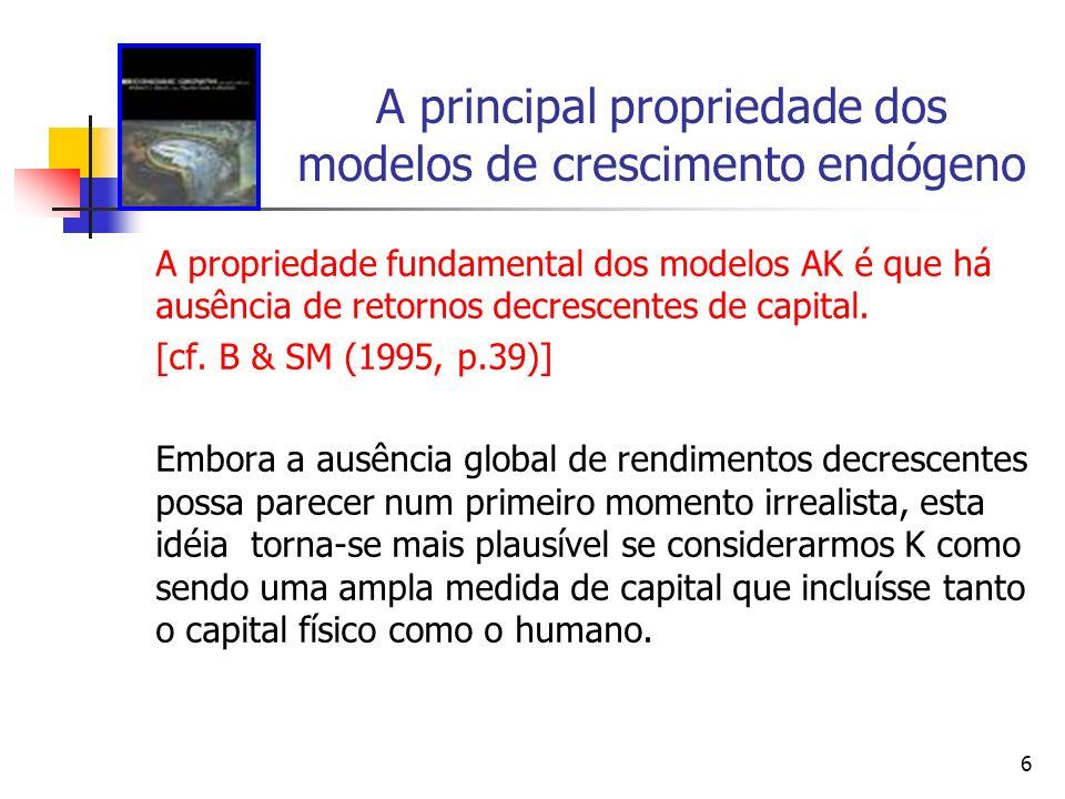 A principal propriedade dos modelos de crescimento endógeno