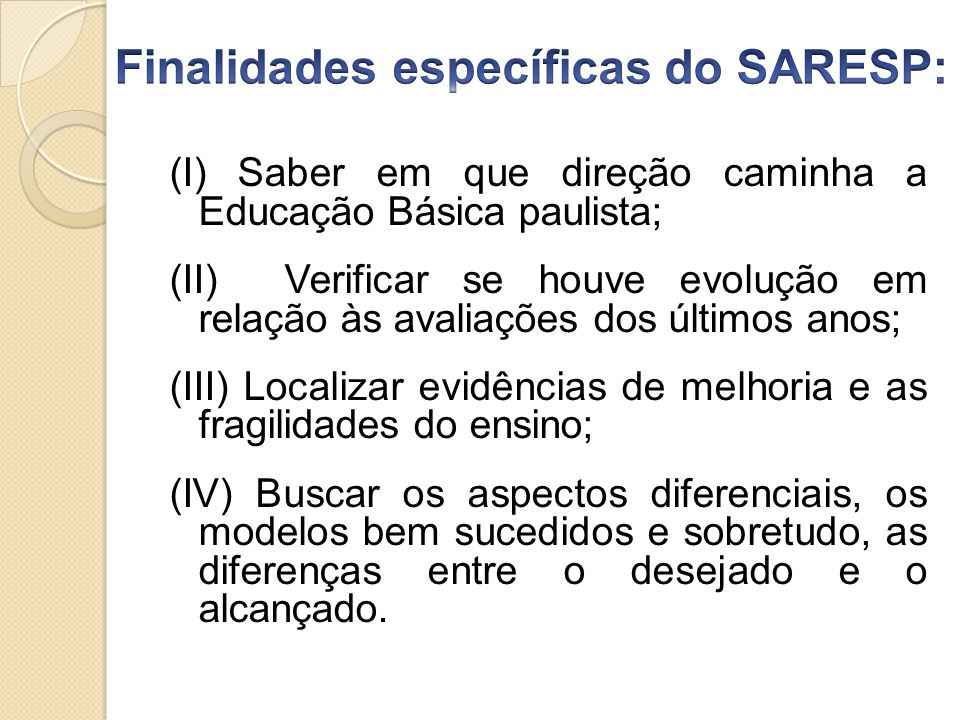 Finalidades específicas do SARESP: