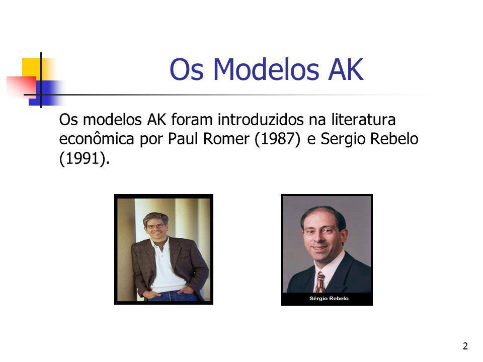Os Modelos AK Os modelos AK foram introduzidos na literatura econômica por Paul Romer (1987) e Sergio Rebelo (1991).