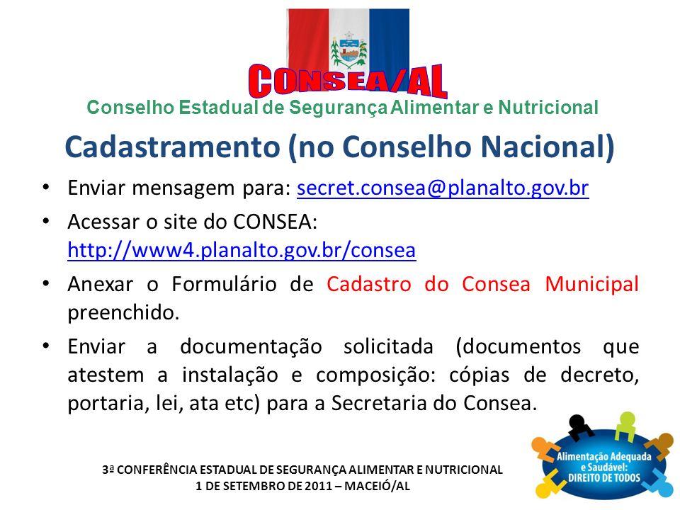 Cadastramento (no Conselho Nacional)