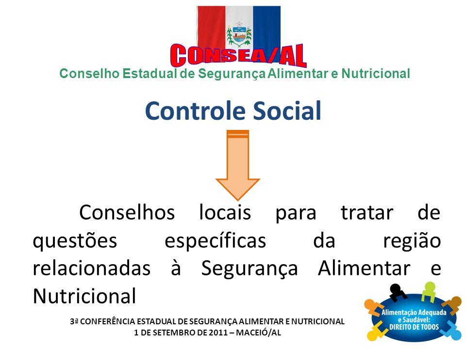 Controle Social Conselhos locais para tratar de questões específicas da região relacionadas à Segurança Alimentar e Nutricional.