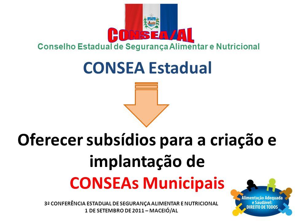 Oferecer subsídios para a criação e implantação de