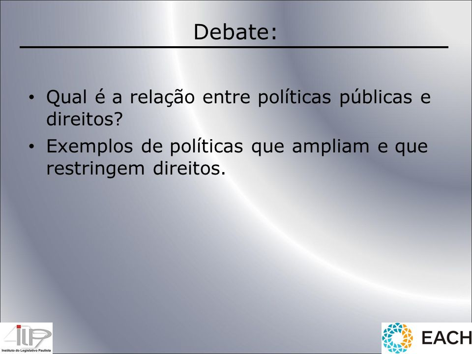 Debate: Qual é a relação entre políticas públicas e direitos