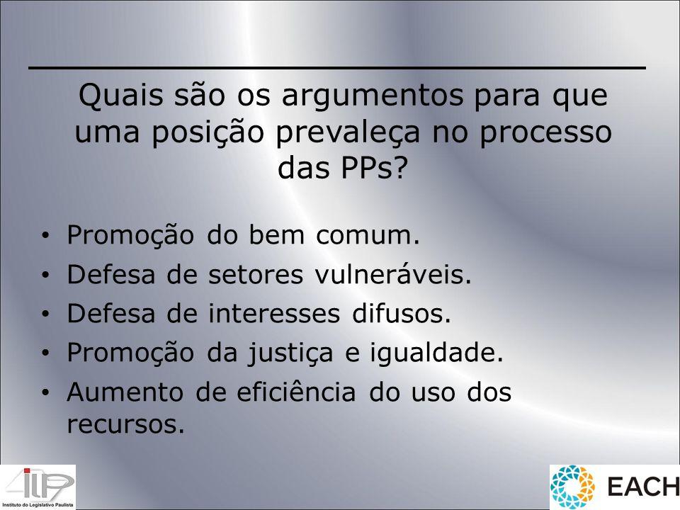 Quais são os argumentos para que uma posição prevaleça no processo das PPs