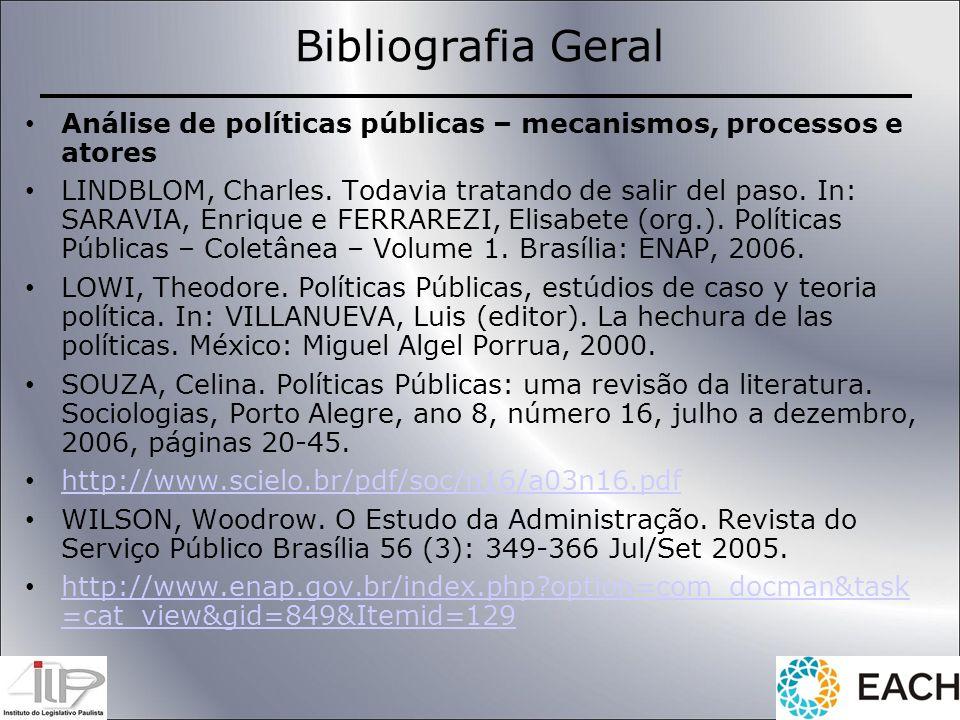Bibliografia Geral Análise de políticas públicas – mecanismos, processos e atores.