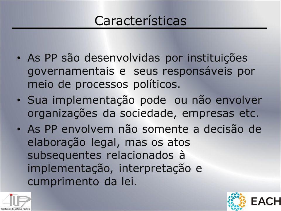 Características As PP são desenvolvidas por instituições governamentais e seus responsáveis por meio de processos políticos.