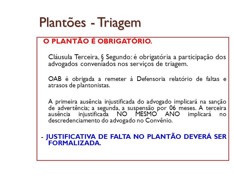 Plantões - Triagem O PLANTÃO É OBRIGATÓRIO.