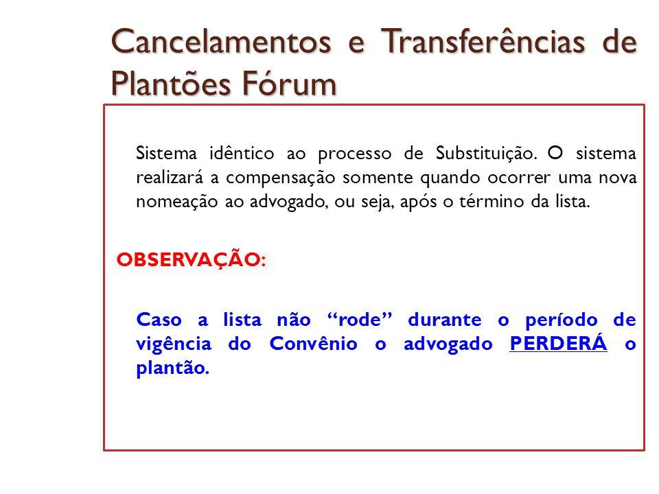 Cancelamentos e Transferências de Plantões Fórum