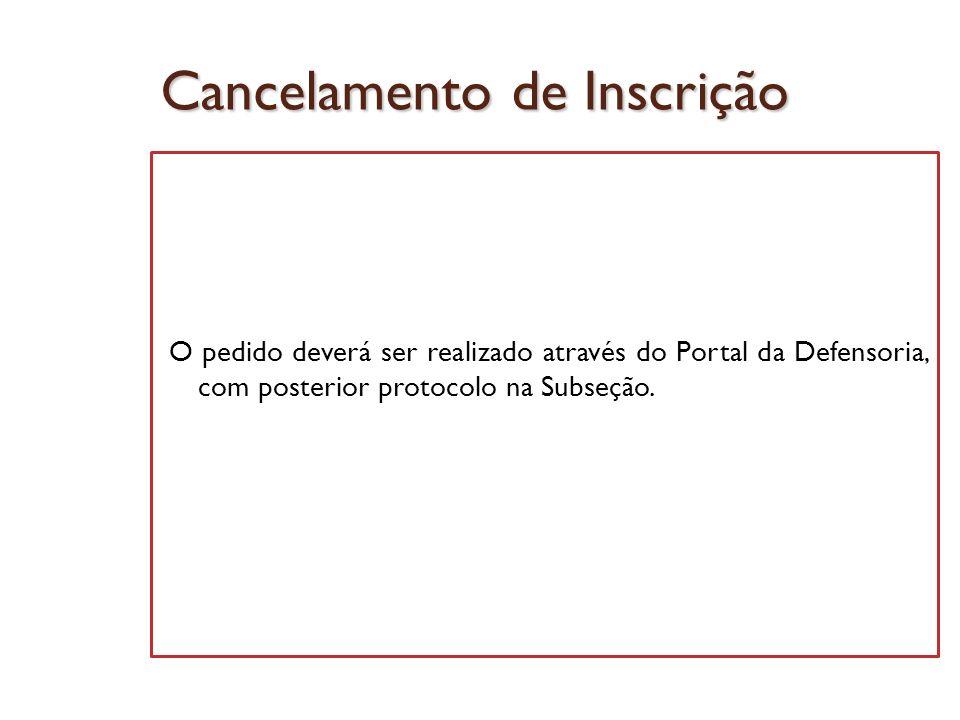 Cancelamento de Inscrição