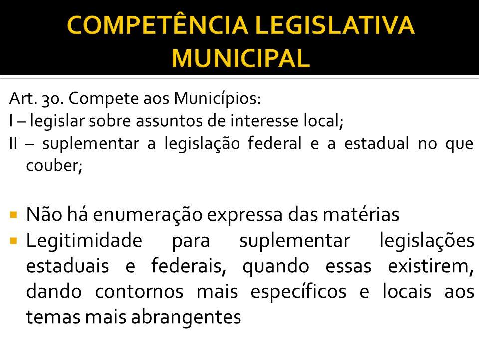 COMPETÊNCIA LEGISLATIVA MUNICIPAL